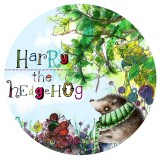 harry the hedgehog round button